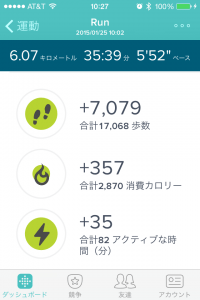 Fitbit Charge HR ジョギング 消費カロリー 歩数