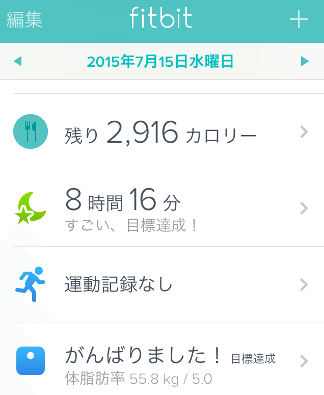 Fitbit Charge HR 睡眠目標達成