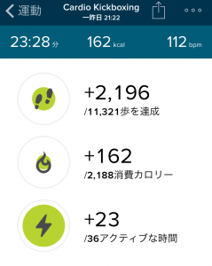Fitbit Charge HR キックボクシング エクササイズ
