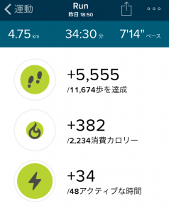 Fitbit Charge HR ジョギング エクササイズ詳細