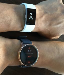 Misfit Vapor vs Fitbit Charge 2 心拍数